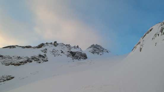 Looking ahead to the upper Anniversary Glacier