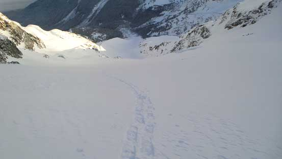 Looking down at my tracks on Anniversary Glacier