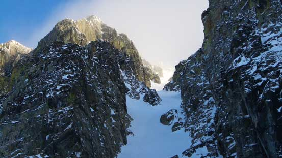 A zoomed-in shot of Aussie Couloir's upper slopes