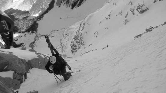Alex exiting the couloir