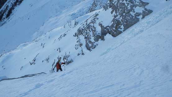 Ben exiting the couloir
