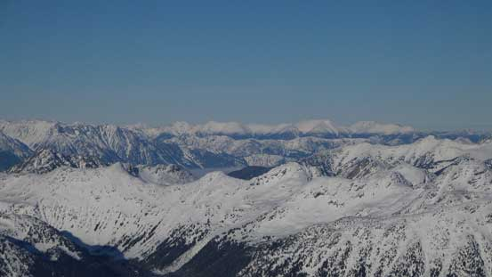 Some unnamed peaks and ridges in the interior side of Coast Mountains