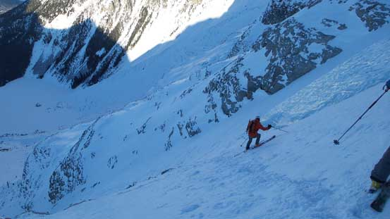 Ben side-slipping into the lower couloir