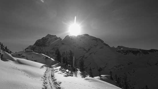 Joffre Peak came into view, unfortunately directly behind the sun...