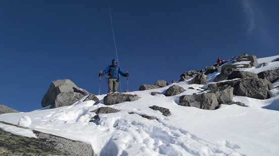 Negotiating the snow covered boulders