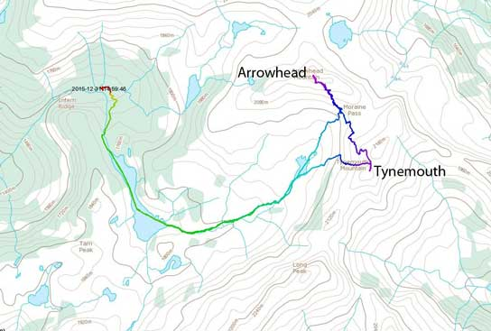 Arrowhead Mountain and Tynemouth Mountain ski ascent route