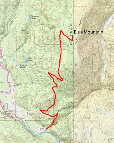 Blue Mountain hiking route