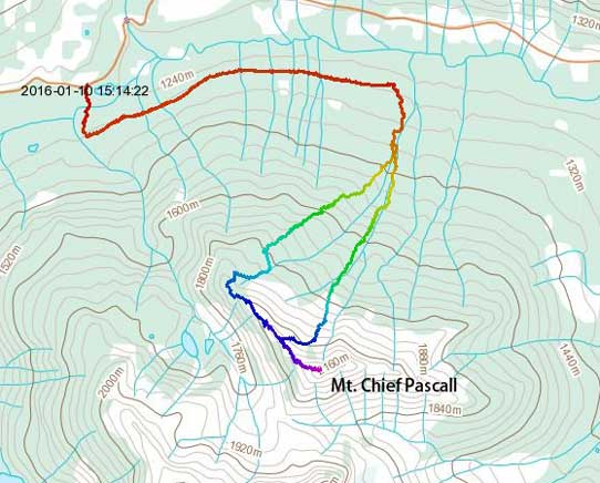 Mt. Chief Pascall ski ascent route