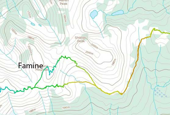 Famine Mountain ski ascent route