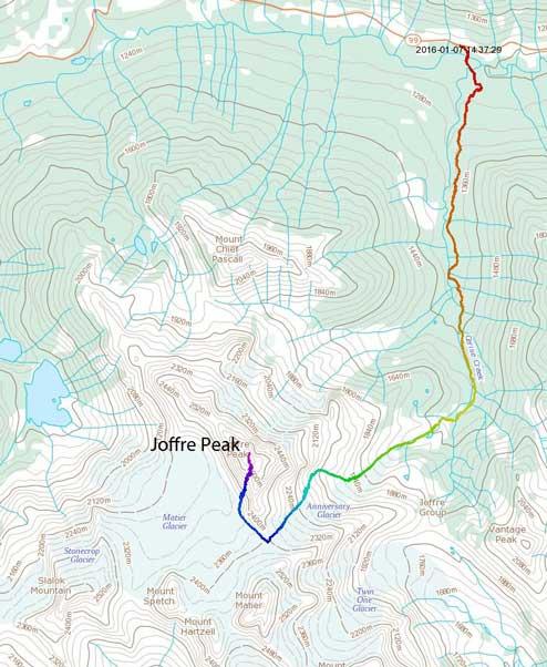 Joffre Peak ascent via Aussie Couloir