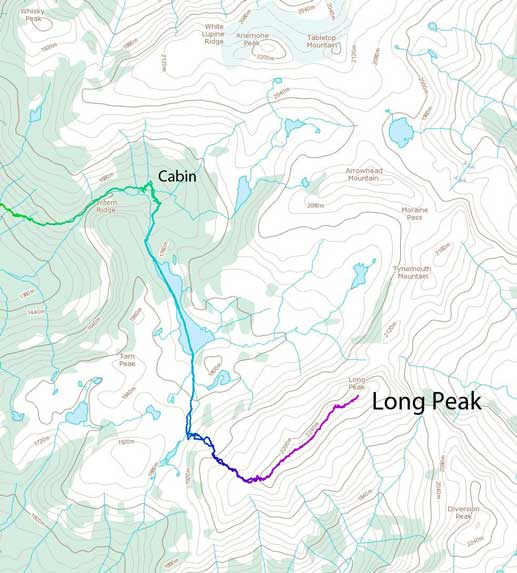 Long Peak ascent route from the Cabin