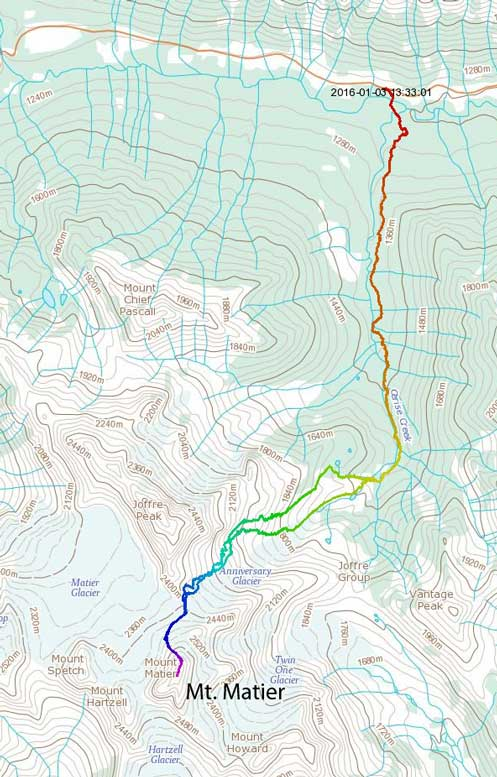 Mt. Matier ascent route