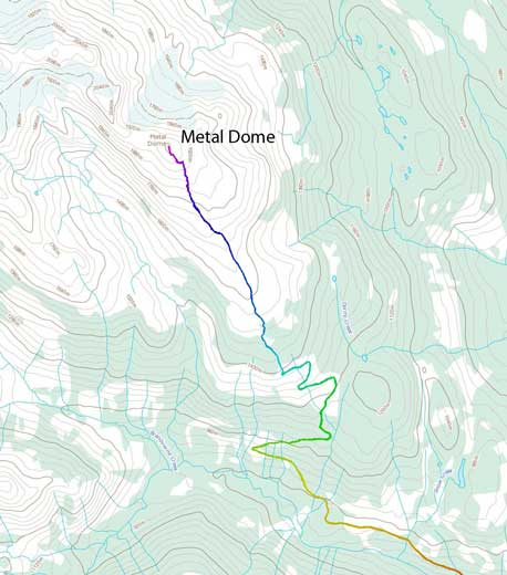 Metal Dome ski ascent route via south ridge
