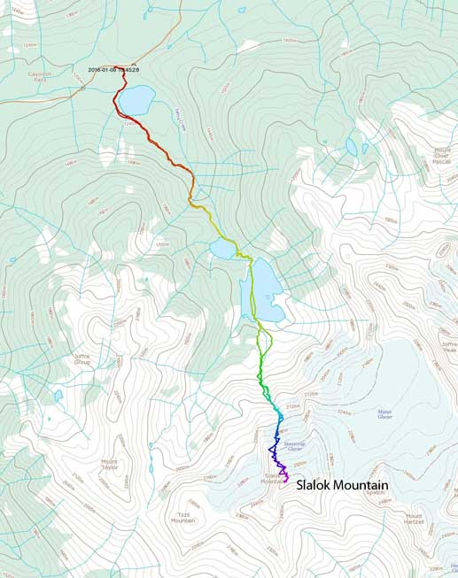 Slalok Mountain ascent route via North Face