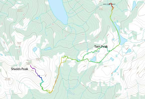 Tarn Peak to Shields Peak ski ascent route