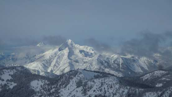 A view of Silvertip Mountain with Mt. Rideout to its left