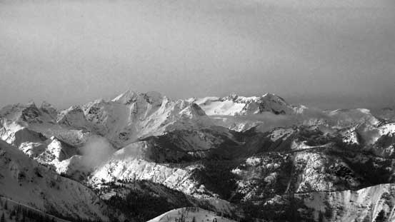 This is a group of remote peaks in North Cascades - Mt. Redoubt, Mt. Spickard, Mt. Custer