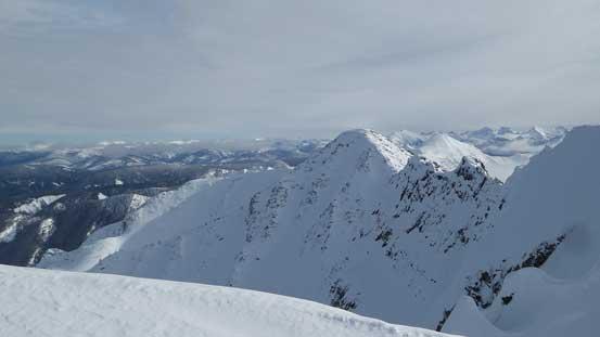 Finally hitting the summit ridge, looking towards the east peak