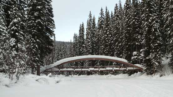 This is that bridge where the trail crosses the (narrowest section) of the lake