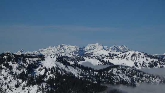 From L to R: Columbia Peak, Kyes Peak and Cadet Peak