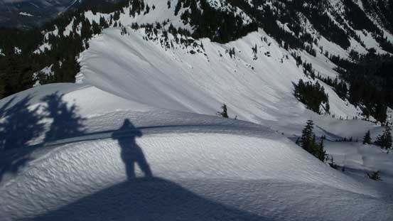 My shadow and Jove Peak's NE bowl