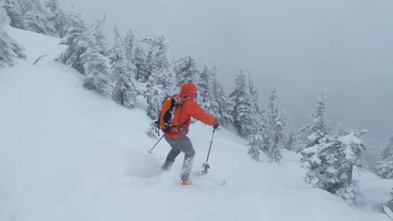 Ben skiing off the upper slopes
