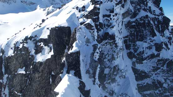 Here's the unexpected broken section of the arete.