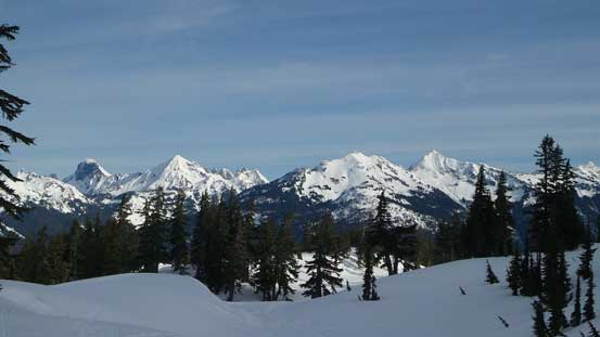 Looking back towards American Border Peak, Mt. Larrabee and Goat Mountain