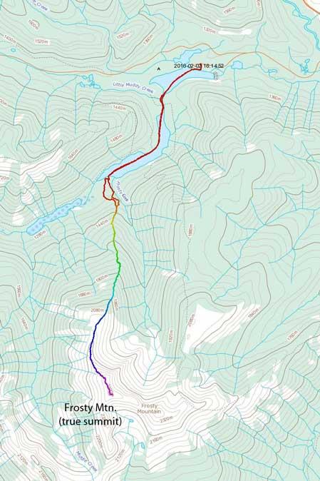 Frosty Mountain ascent route via NW Ridge