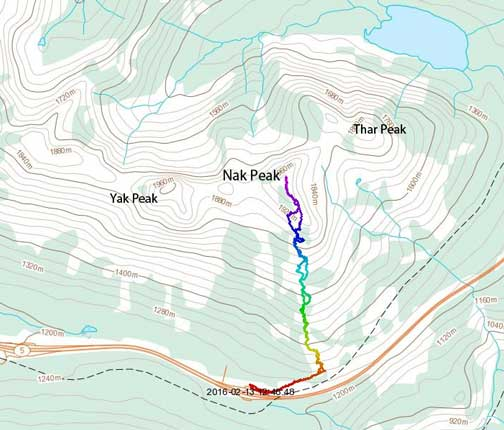 Nak Peak ski ascent route via south ridge