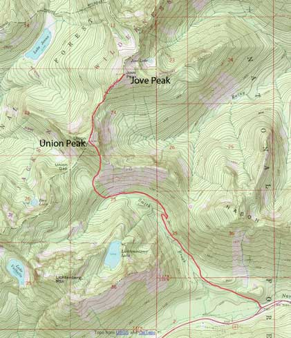 Union Peak to Jove Peak winter ascent route