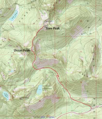 Union Peak to Jove Peak winter ascent route