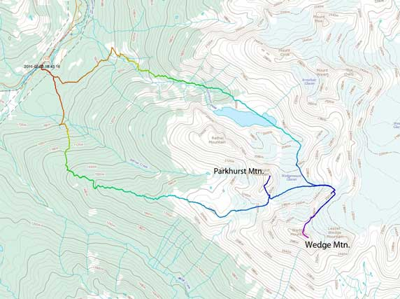 Wedge Mountain (NE Arete) and Parkhurst Mountain ascent route