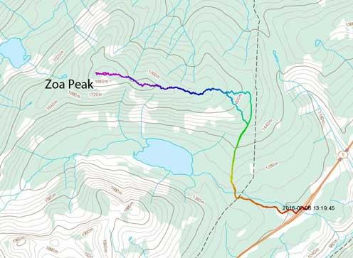 Zoa Peak standard ascent route