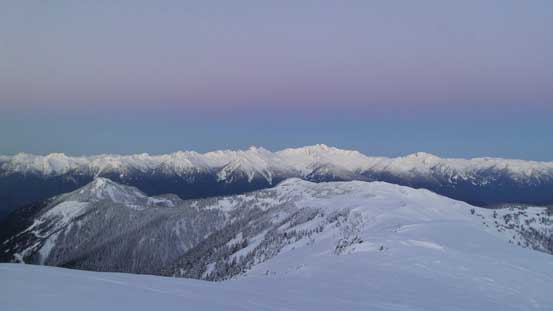 The purple/pink horizon above Tantalus Range before alpenglow time