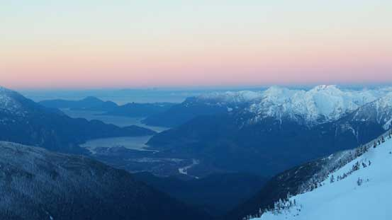 Pink horizon over Howe Sound