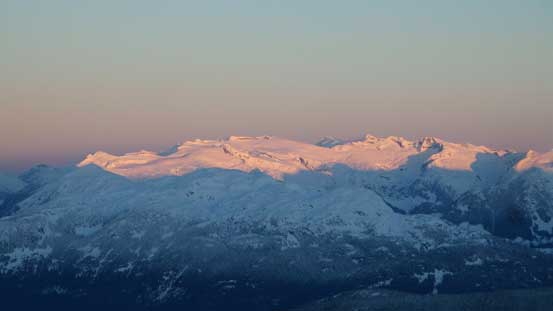 Alpenglow on peaks on Ashlu - Elaho Divide