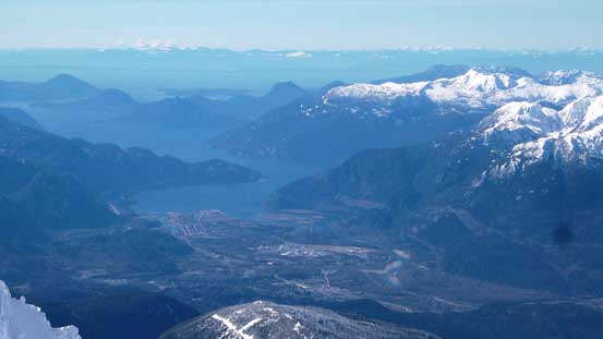 Looking down at the city of Squamish and Howe Sound