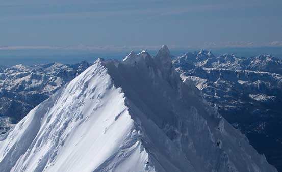 A zoomed-in view of the jagged North Ridge on Atwell Peak