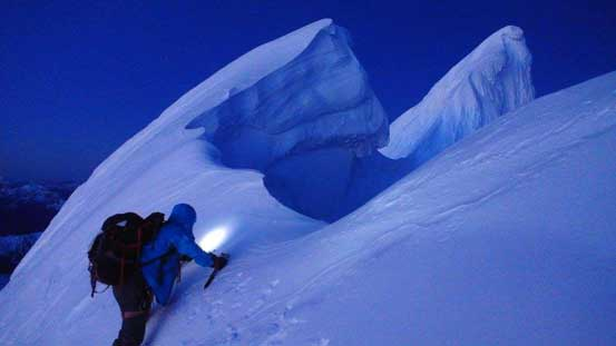 Me leading across the summit ridge traverse. Note the gigantic cornices. Photo by Alex