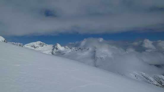Looking across the upper slope towards Isosceles Peak