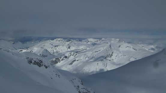 A zoomed-in view of the sea of peaks along McBride Range Traverse