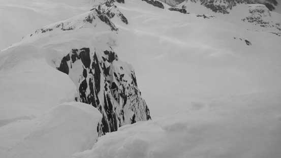 The steep north face and some huge cornices.