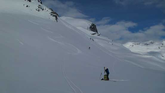Skiing down to the low point on Sentinel Glacier