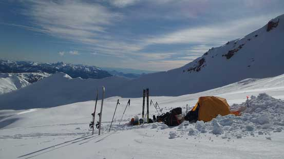 Our campsite high on Diamond Glacier