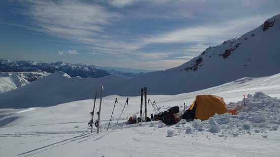 Our campsite high on Diamond Glacier