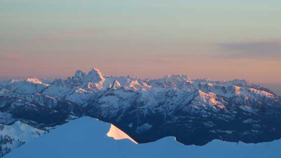 Sky Pilot Mountain et al. at evening glow