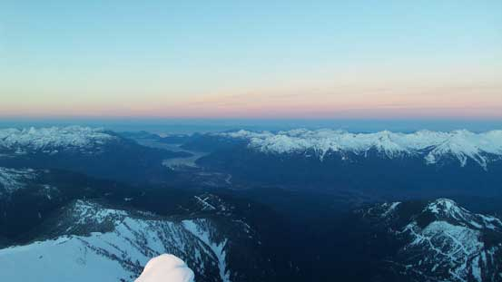 Howe Sound and the pick horizon at morning alpenglow