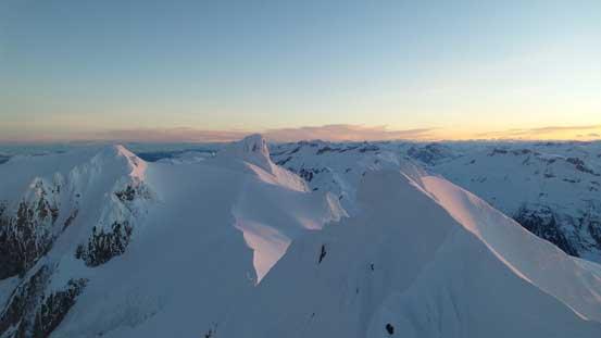 Looking back towards the false summit (R) and other peaks on Mt. Garibaldi massif