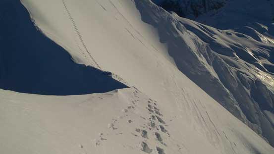 That narrow spot is the hardest part along the summit ridge traverse